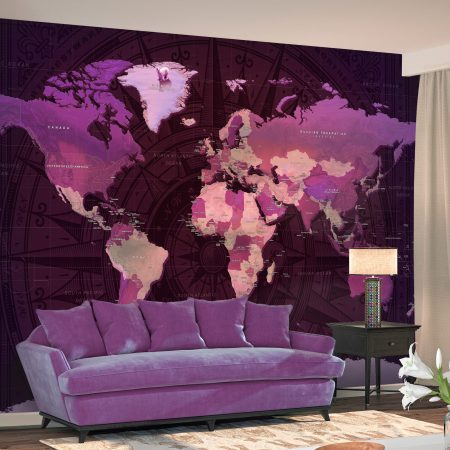 Fotomurale - Purple World Map-1